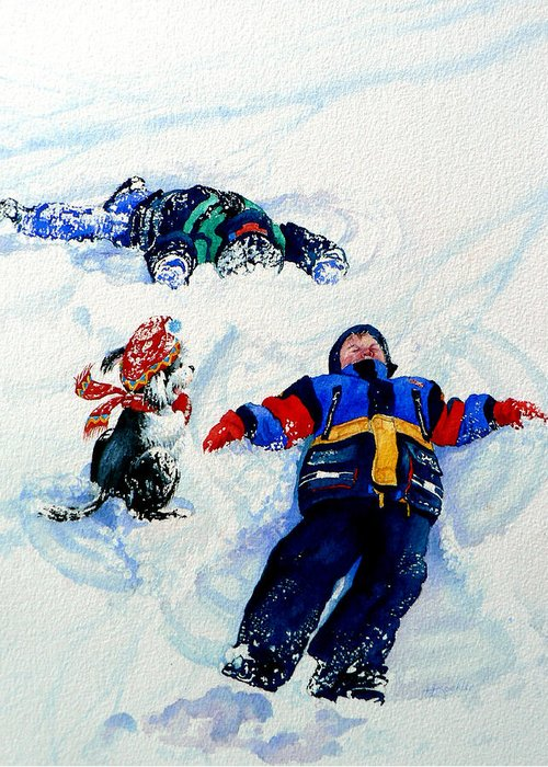 Kids In Snow Greeting Card featuring the painting Snow Angels by Hanne Lore Koehler