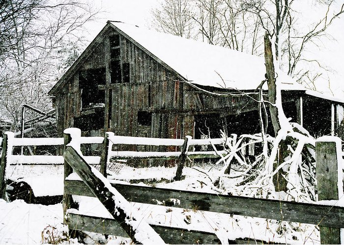 Barn Greeting Card featuring the photograph Snow Covered Barn by Kimberleigh Ladd