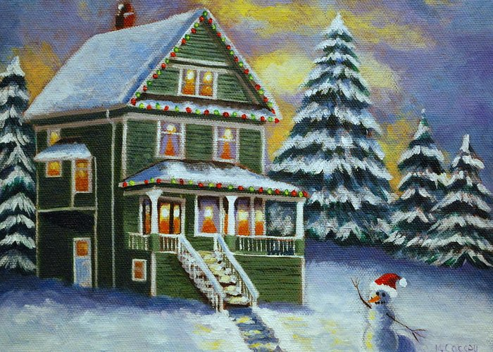 Victorian Christmas Greeting Card featuring the painting Snow Day by Melanie Cossey