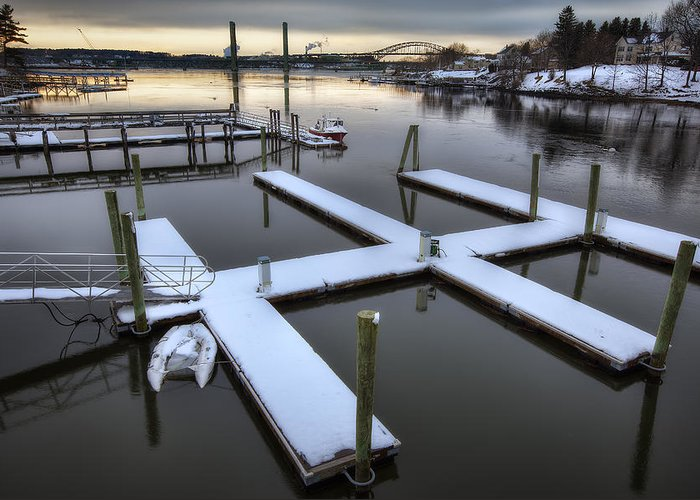 Snow On The Docks Greeting Card featuring the photograph Snow On The Docks by Eric Gendron