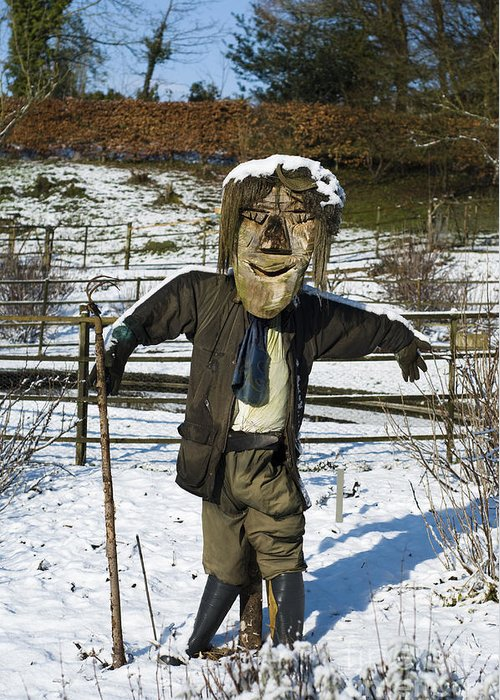 Snowcapped Greeting Card featuring the photograph Snowcapped Scarecrow by Anne Gilbert