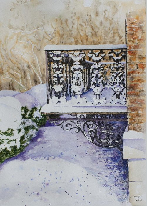 Snow Scene Greeting Card featuring the painting Snowy Ironwork by Patsy Sharpe