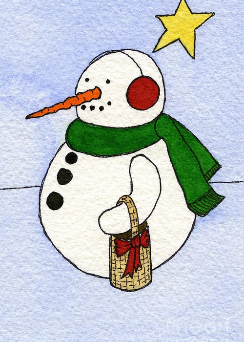 Snowman Print Greeting Card featuring the painting Snowy Man by Norma Appleton