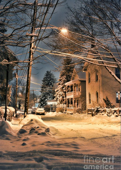 Snow Greeting Card featuring the photograph snowy night in Northampton by HD Connelly