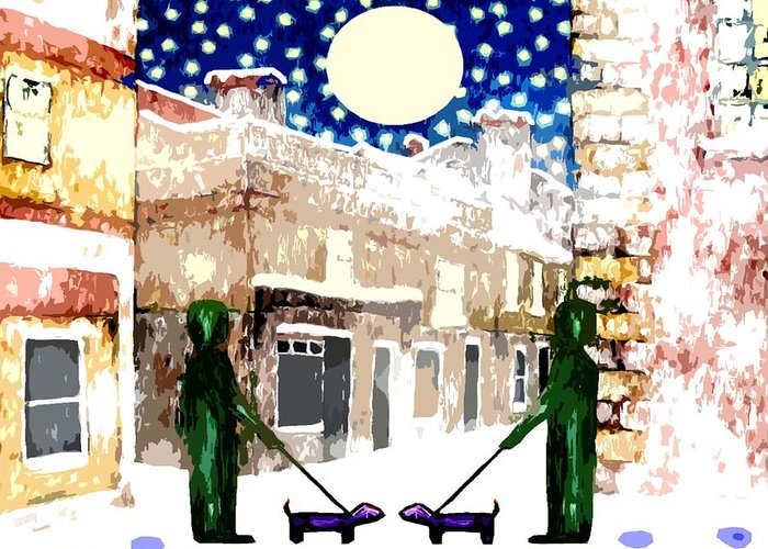 Landscapes Greeting Card featuring the painting Snowy Night by Patrick J Murphy