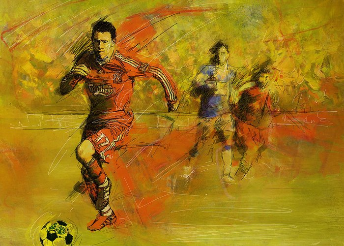 Sports Greeting Card featuring the painting Soccer by Corporate Art Task Force