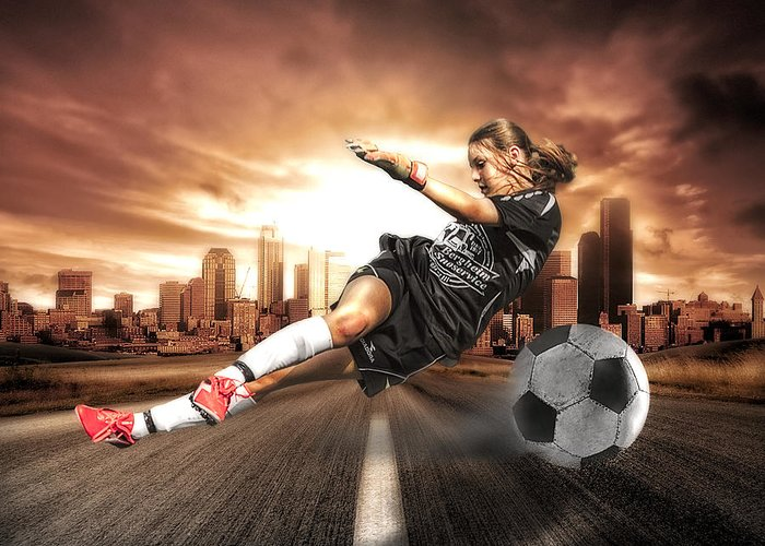 Action Greeting Card featuring the photograph Soccer Girl by Erik Brede