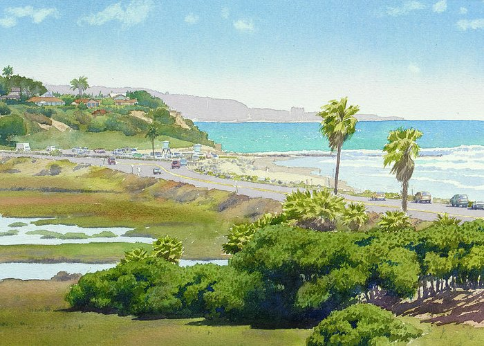 Solana Beach Greeting Card featuring the painting Solana Beach California by Mary Helmreich