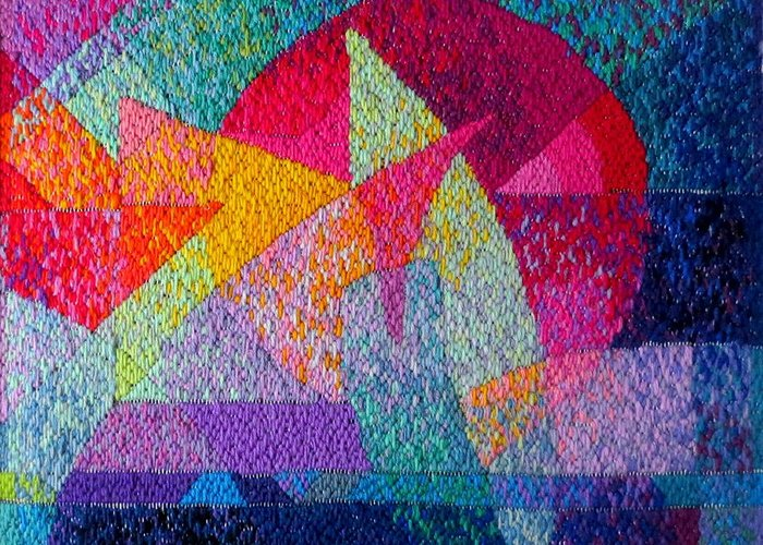 Abstract Expressionist Needlepoint Greeting Card featuring the tapestry - textile Solar Tapestry by Diane Fine