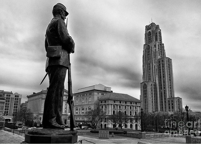 Soldiers Memorial Greeting Card featuring the photograph Soldiers Memorial And Cathedral Of Learning by Thomas R Fletcher