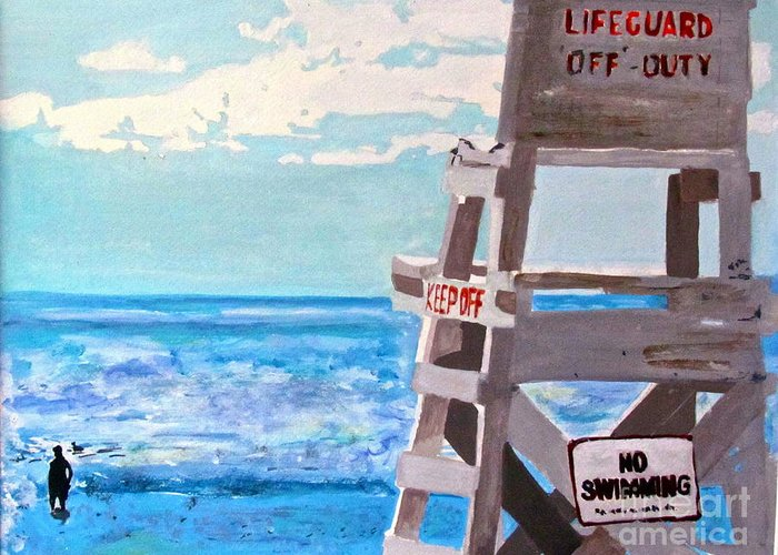 Lifeguard Greeting Card featuring the painting Solitude by Beth Saffer