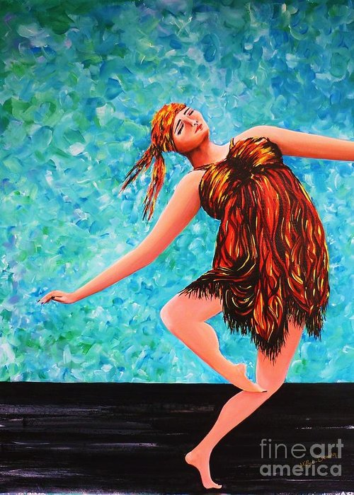 Performance Greeting Card featuring the painting Solo Performance by Kaye Miller-Dewing