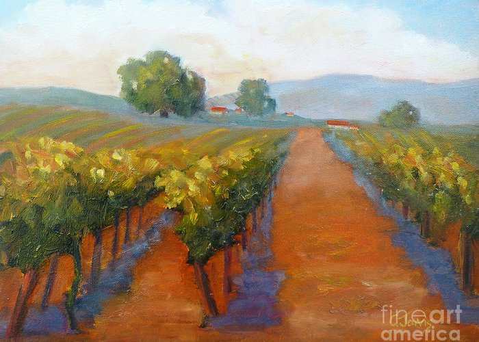 Vineyards Greeting Card featuring the painting Sonoma Vineyard by Carolyn Jarvis