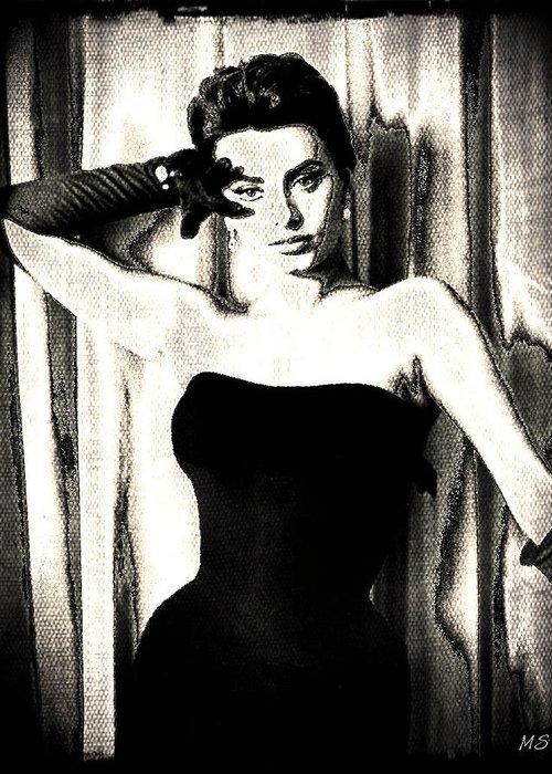 Sophia Loren Greeting Card featuring the digital art Sophia Loren - Black And White by Absinthe Art By Michelle LeAnn Scott