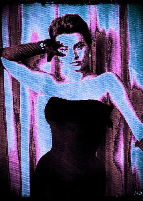 Sophia Loren Greeting Card featuring the digital art Sophia Loren - Blue Pop Art by Absinthe Art By Michelle LeAnn Scott