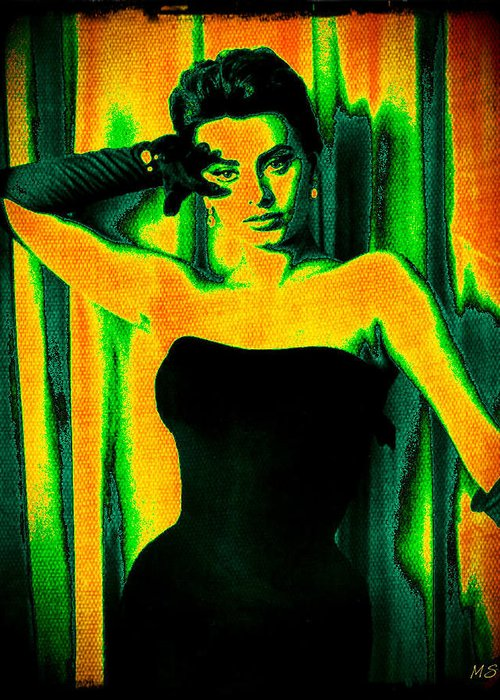 Sophia Loren Greeting Card featuring the digital art Sophia Loren - Neon Pop Art by Absinthe Art By Michelle LeAnn Scott