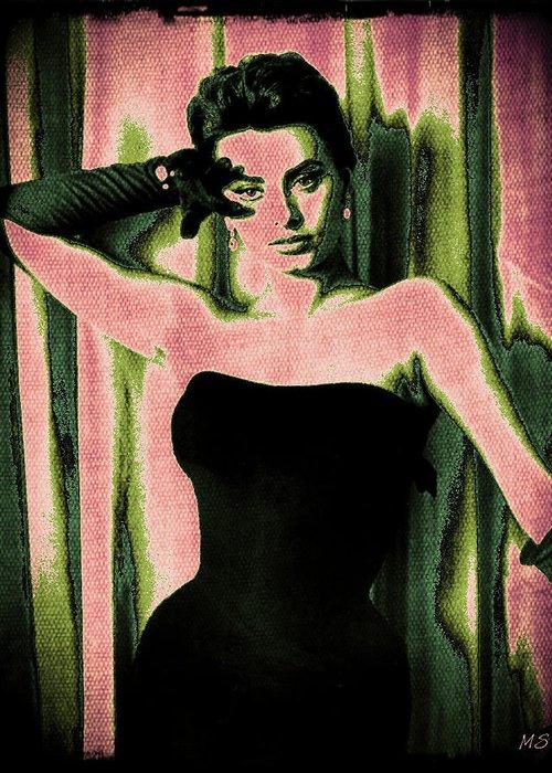 Sophia Loren Greeting Card featuring the digital art Sophia Loren - Pink Pop Art by Absinthe Art By Michelle LeAnn Scott