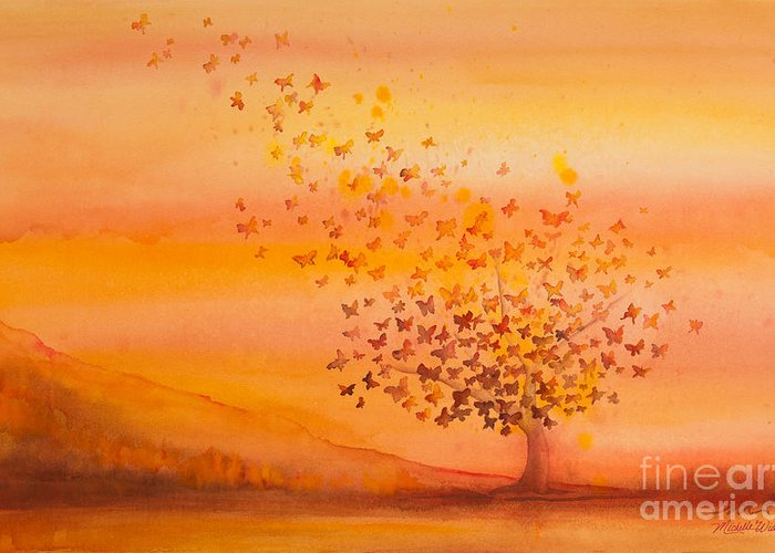 Butterfly Greeting Card featuring the painting Soul Freedom Watercolor Painting by Michelle Wiarda