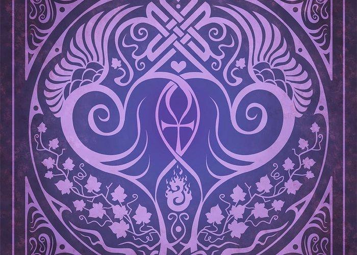 Soul Mates Greeting Card featuring the digital art Soul Mates - Purple by Cristina McAllister