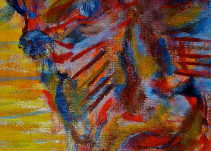 Portrait Greeting Card featuring the painting Soul Searching by Abram Freitas