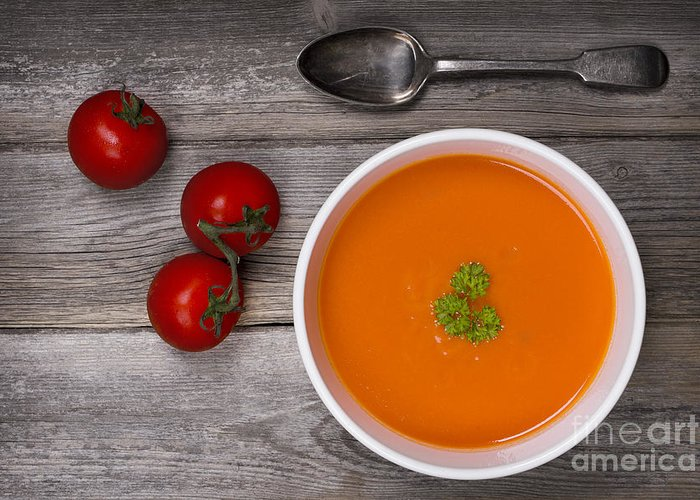 Soup On Wood Table Greeting Card by Jane Rix