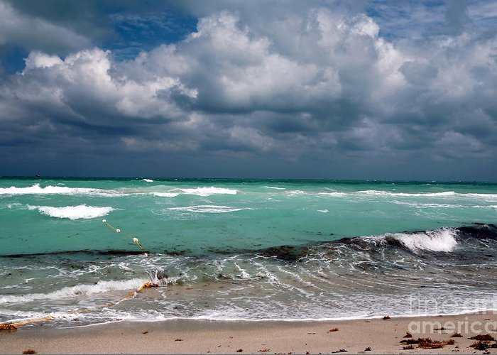 South Beach Storm Clouds Greeting Card featuring the photograph South Beach Storm Clouds by John Rizzuto