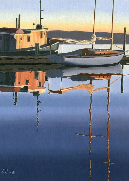 Boat Greeting Card featuring the painting South Harbour Reflections by Gary Giacomelli