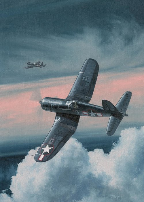 F4u Corsair Greeting Card featuring the painting South Pacific Hot Rods by Wade Meyers