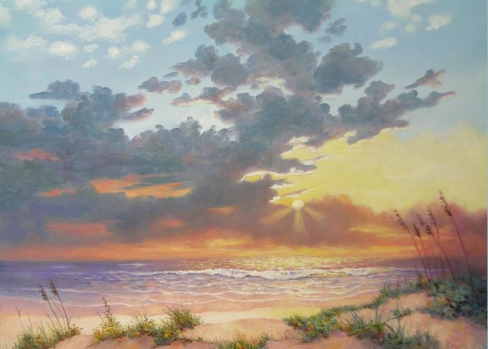 Seascape Greeting Card featuring the painting South Padre Island Splendor by Carol Reynolds