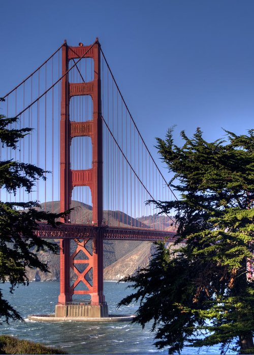 Golden Gate Bridge Greeting Card featuring the photograph South Tower by Bill Gallagher