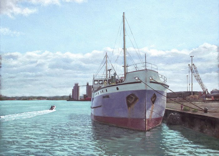 Southampton Greeting Card featuring the painting Southampton Docks Ss Shieldhall Ship by Martin Davey