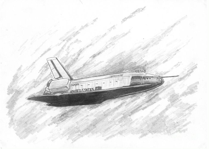 Space Greeting Card featuring the drawing Space Shuttle Enterprise by Michael Penny
