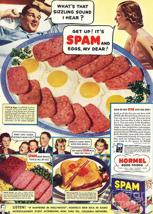 Adverts Greeting Card featuring the drawing Spam 1960s Usa Hormel Meat Tinned by The Advertising Archives