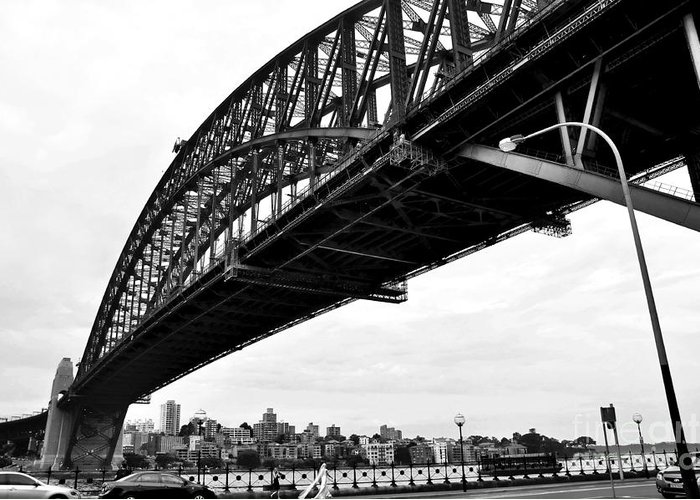 Photography Greeting Card featuring the photograph Spanning Sydney Harbour - Black And White by Kaye Menner