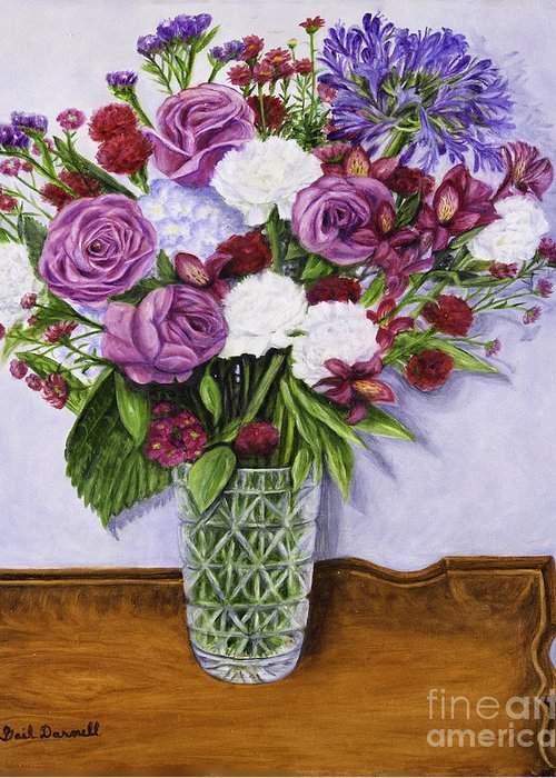 Oil Painting Greeting Card featuring the painting Special Bouquet In Crystal Vase On Heirloom Table by Gail Darnell