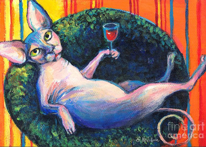 Sphynx Cat Greeting Card featuring the painting Sphynx Cat Relaxing by Svetlana Novikova