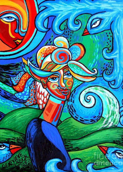 Woman Greeting Card featuring the painting Spiral Bird Lady by Genevieve Esson
