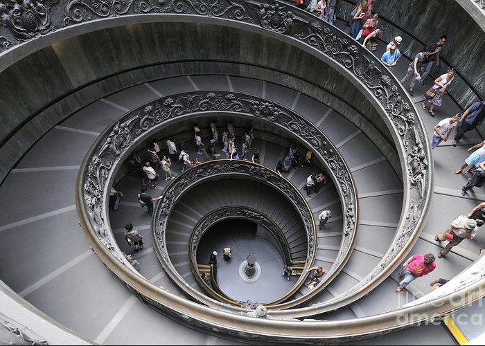 Museum Greeting Card featuring the photograph Spiral Staircase By Giuseppe Momo At The Vatican Museum. Rome. Italy by Bernard Jaubert