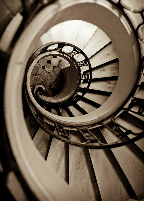 B&w Greeting Card featuring the photograph Spiral Staircase by Sebastian Musial
