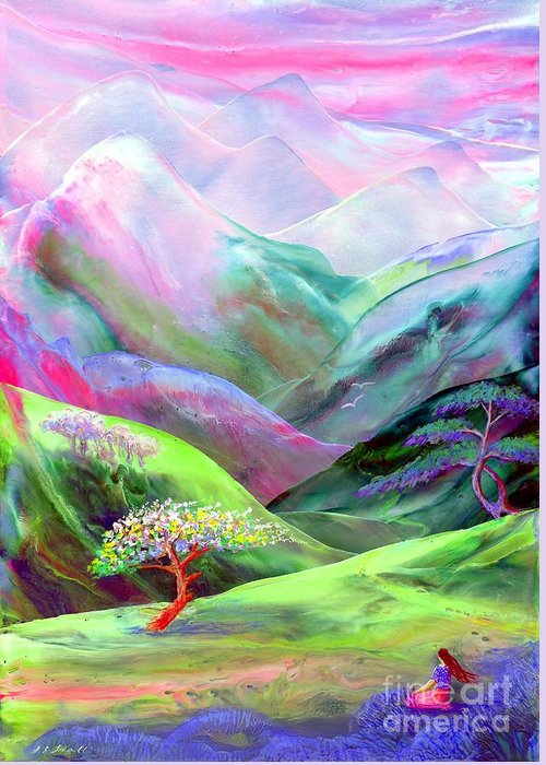 Spring Greeting Card featuring the painting Spirit Of Spring by Jane Small