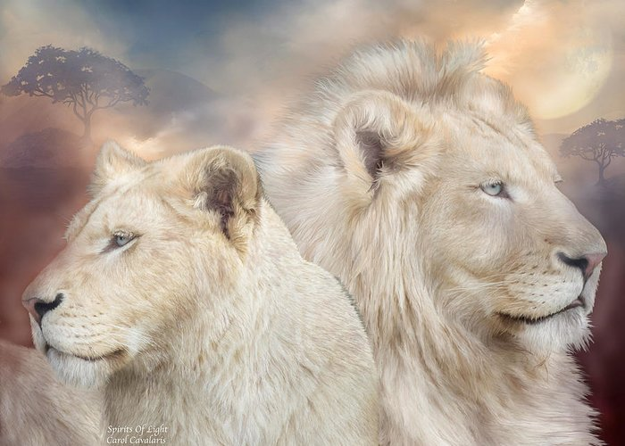 Lion Greeting Card featuring the mixed media Spirits Of Light by Carol Cavalaris
