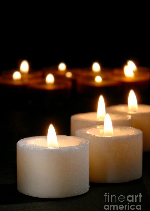 Candles Greeting Card featuring the photograph Spiritual Reflection Candles by Olivier Le Queinec