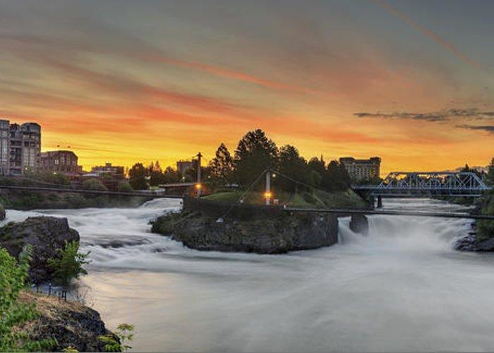 Spokane Greeting Card featuring the photograph Spokane Sunrise by Michael Gass