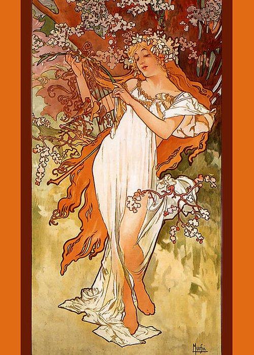 Alphonse Maria Mucha Greeting Card featuring the digital art Spring by Alphonse Maria Mucha