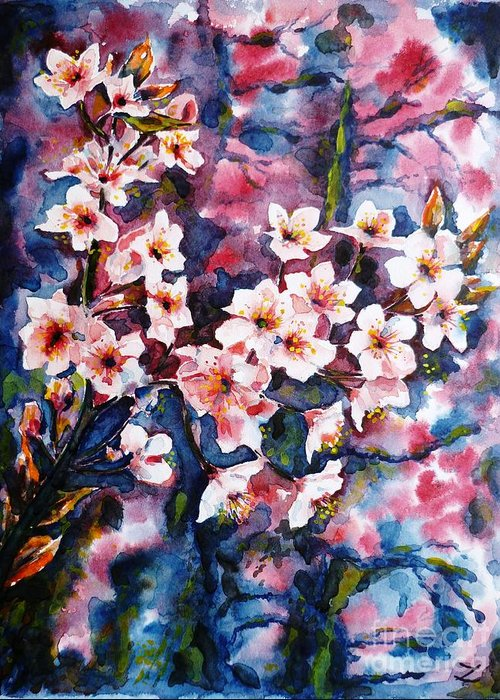 Sakura Greeting Card featuring the painting Spring Beauty by Zaira Dzhaubaeva
