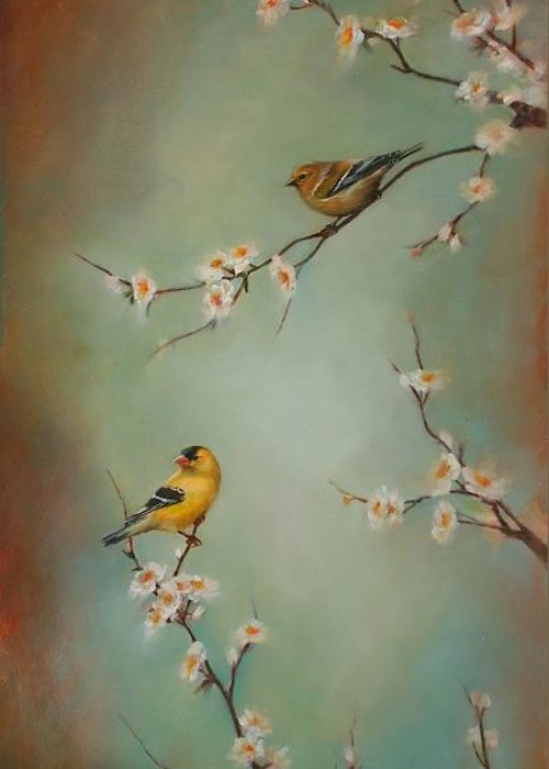 Songbird Greeting Card featuring the painting Spring Dream by Lori McNee