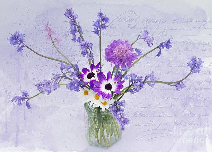 Ann Garrett Greeting Card featuring the photograph Spring Flowers In A Jam Jar by Ann Garrett