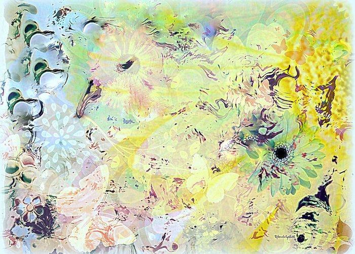 Flowers Greeting Card featuring the mixed media Spring Happiness by YoMamaBird Rhonda