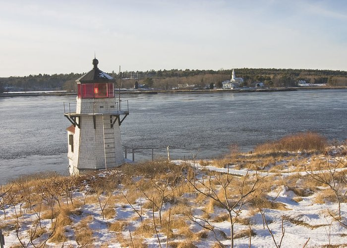 Maine Greeting Card featuring the photograph Squirrel Point Lighthouse Kennebec River Maine by Keith Webber Jr