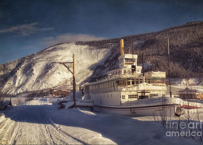 Steamboat Greeting Card featuring the photograph S.s. Keno Sternwheel Paddle Steamer by Priska Wettstein